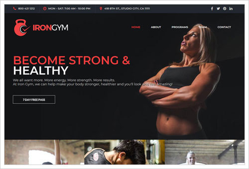 View Iron Gym template